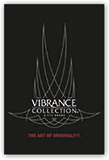 Black window cling with the Vibrance Collection logo
